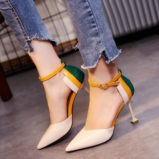 Line-Style Buckle Stiletto Heel Pointed Toe Color Block Women's Pumps