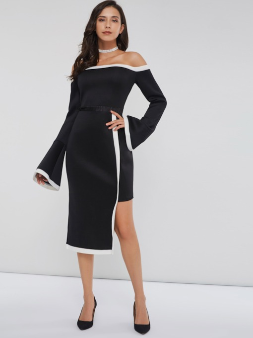 Off Shoudler Bodycon Asymmetric Women's Long Sleeve Dress