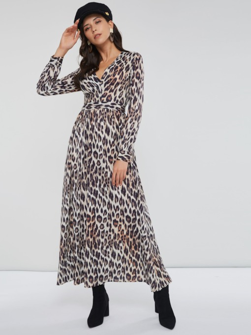 Leopard Print Long Sleeve Women's Maxi Dress