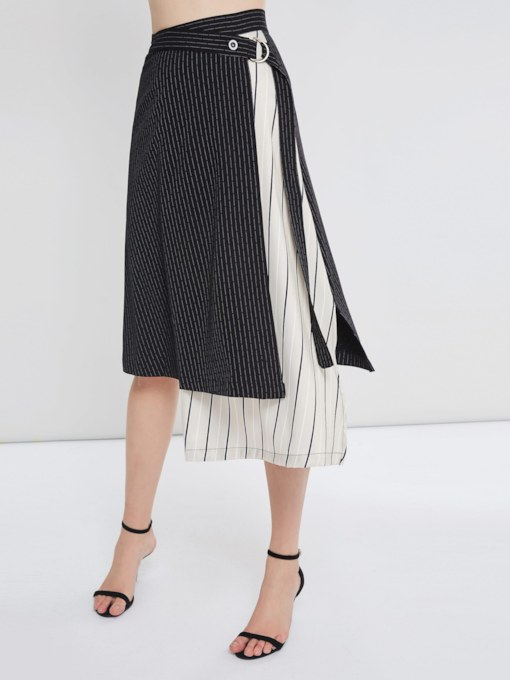 Asymmetric Patchwork Belted Women's Skirt