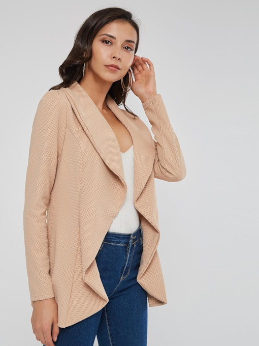 Plain Slim Lapel Asymmetric Wrapped Women's Jacket