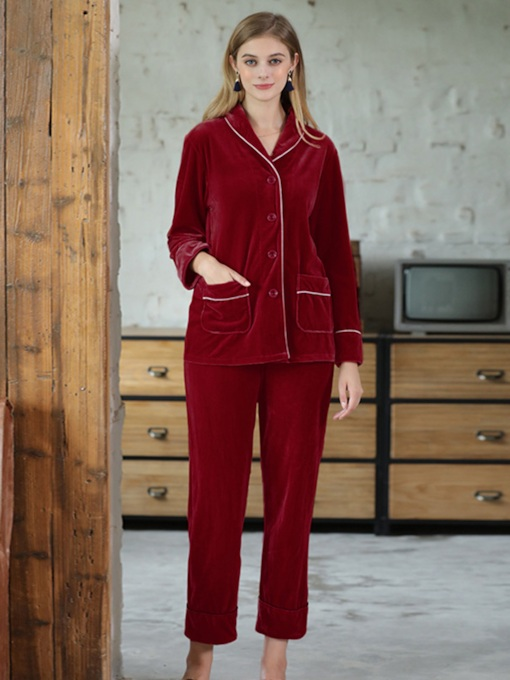 Lapel Plain Pocket Simple Women's Pajama Set