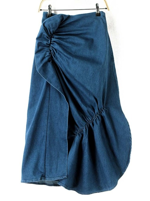 Asymmetric Denim Patchwork Women's Skirt