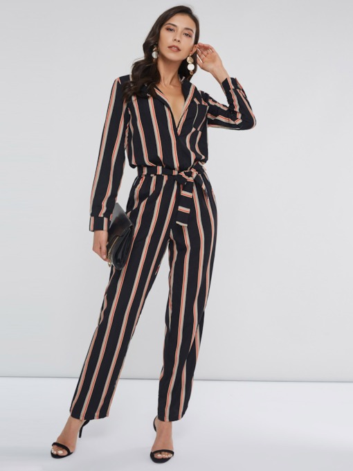Stripe Full Length Lace-Up Slim Women's Jumpsuits