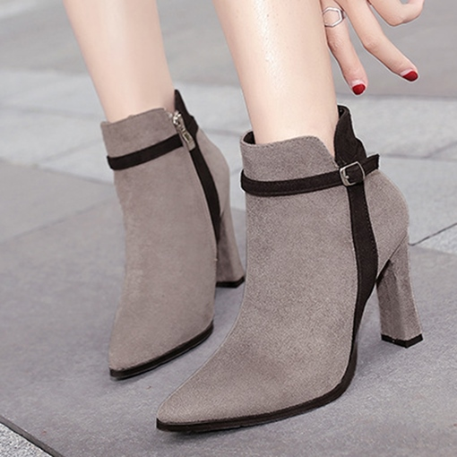 Suede Pointed Toe Side Zipper Buckle Chunky Heel Ankle Boots