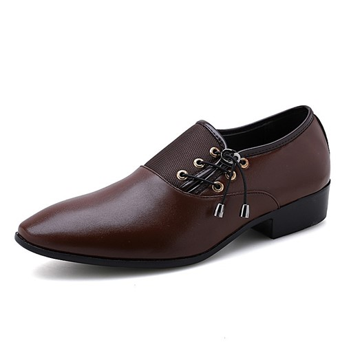 PU Elastic Band Round Toe Plain Professional Men's Business Shoes