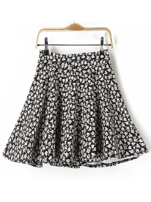 Floral Print High Waist A Line Women's Skirt