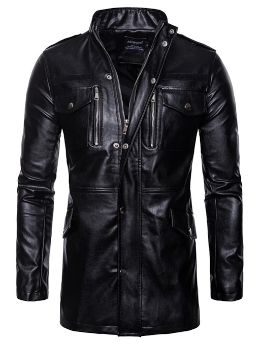 Slim Stand Collar Mid-Length Plain Men's PU Jacket