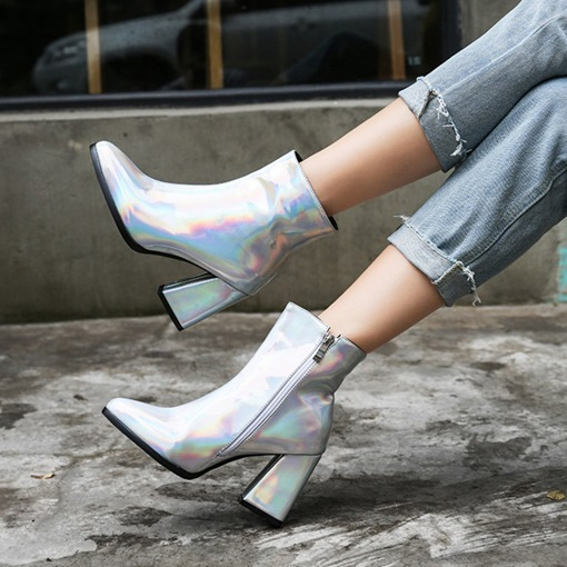 Pointed Toe Chunky Heel Side Zipper Metallic Ankle Boots