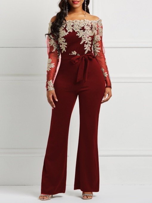 Full Length Patchwork Slim Women's Jumpsuits