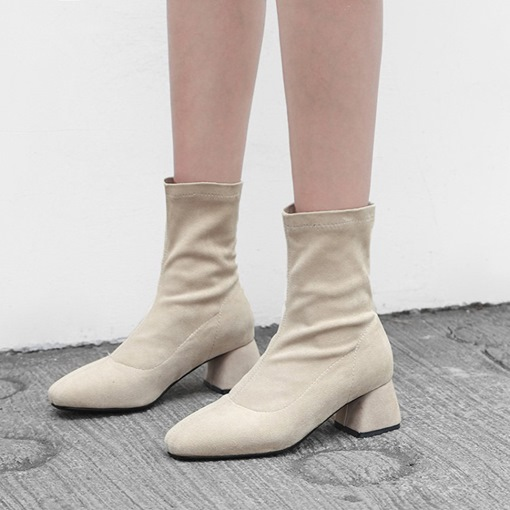 Suede Round Toe Slip-On Chunky Heel Casual Women's Ankle Boots