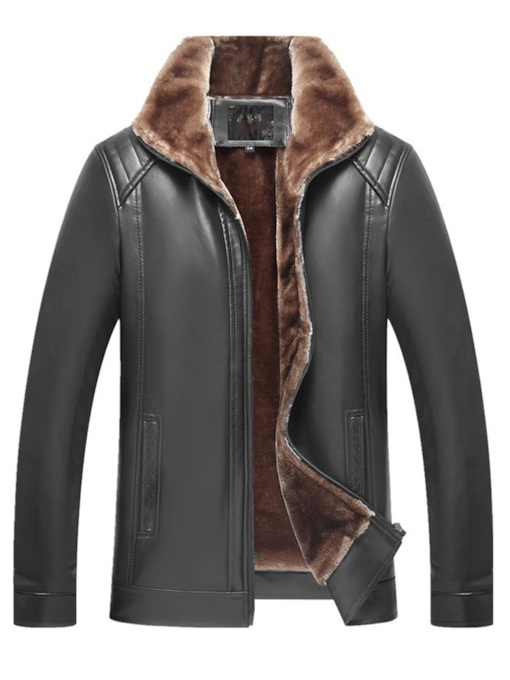 Slim Lapel Plus Fur Men's PU Jacket
