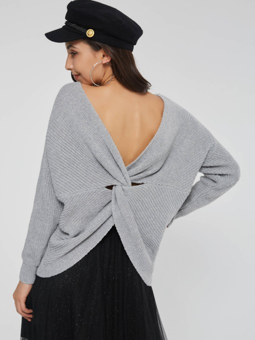 Straight V-Neck Plain Backless Pullover Women's Sweater