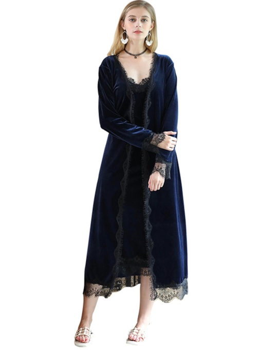 Casual Lace-Up Loose Women's Night Robe