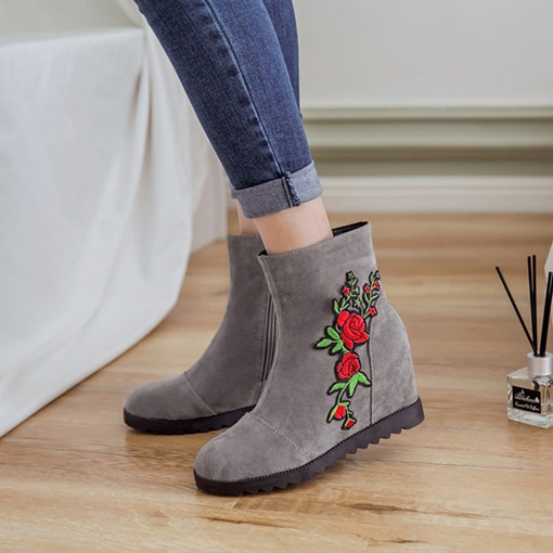 Suede Round Toe Side Zipper Floral Appliques Elevated Ankle Boots
