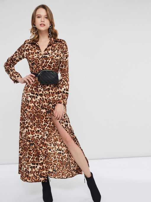 Leopard Lace Up Lapel Women's Maxi Dress