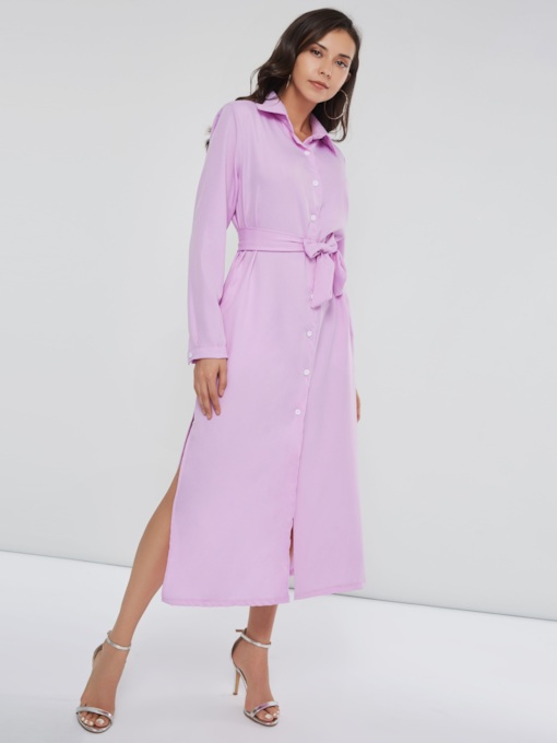 Single-Breasted Long Sleeves Button Women's Maxi Dress