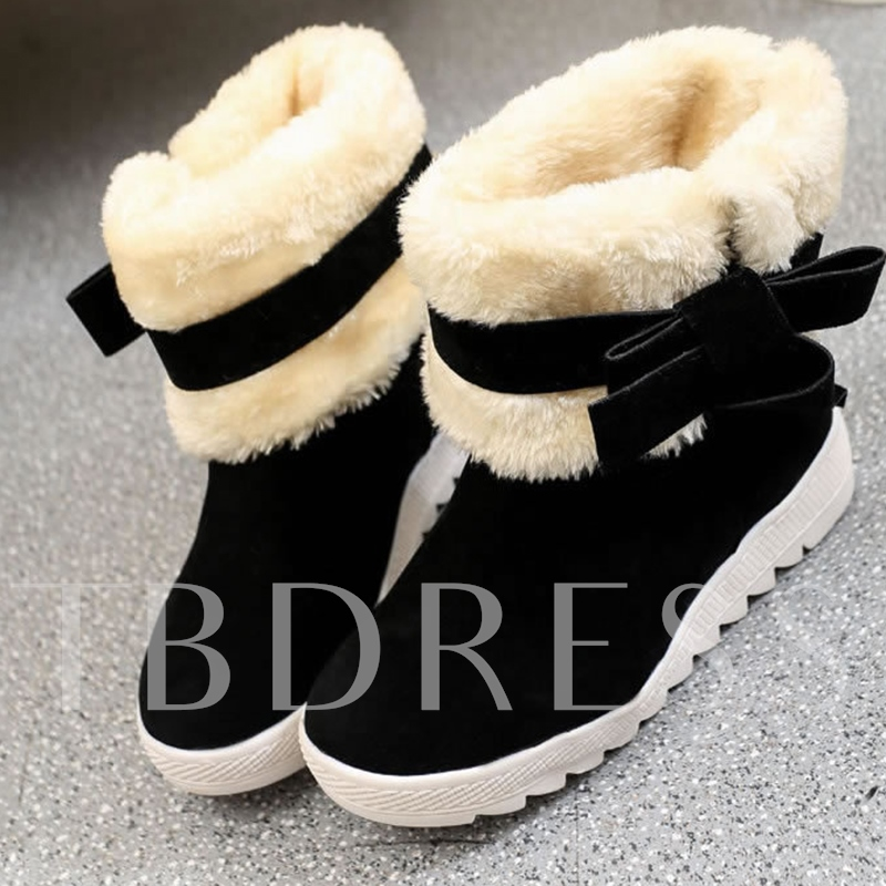 Suede Round Toe Slip-On Bow Platform Elevated Christmas Snow Boots