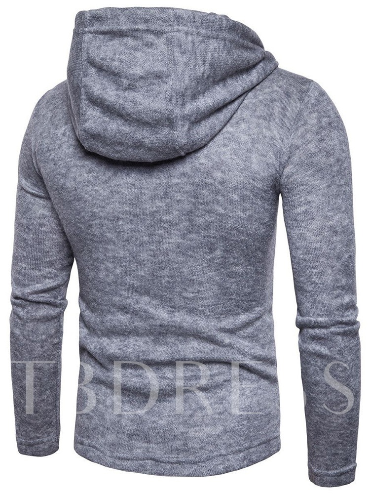 Hooded Horn Button Cardigan Men's Sweater