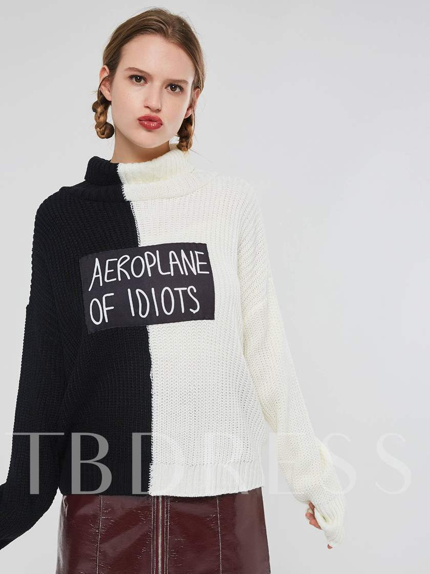 Loose High Neck Color Block Letter Print Women's Sweater