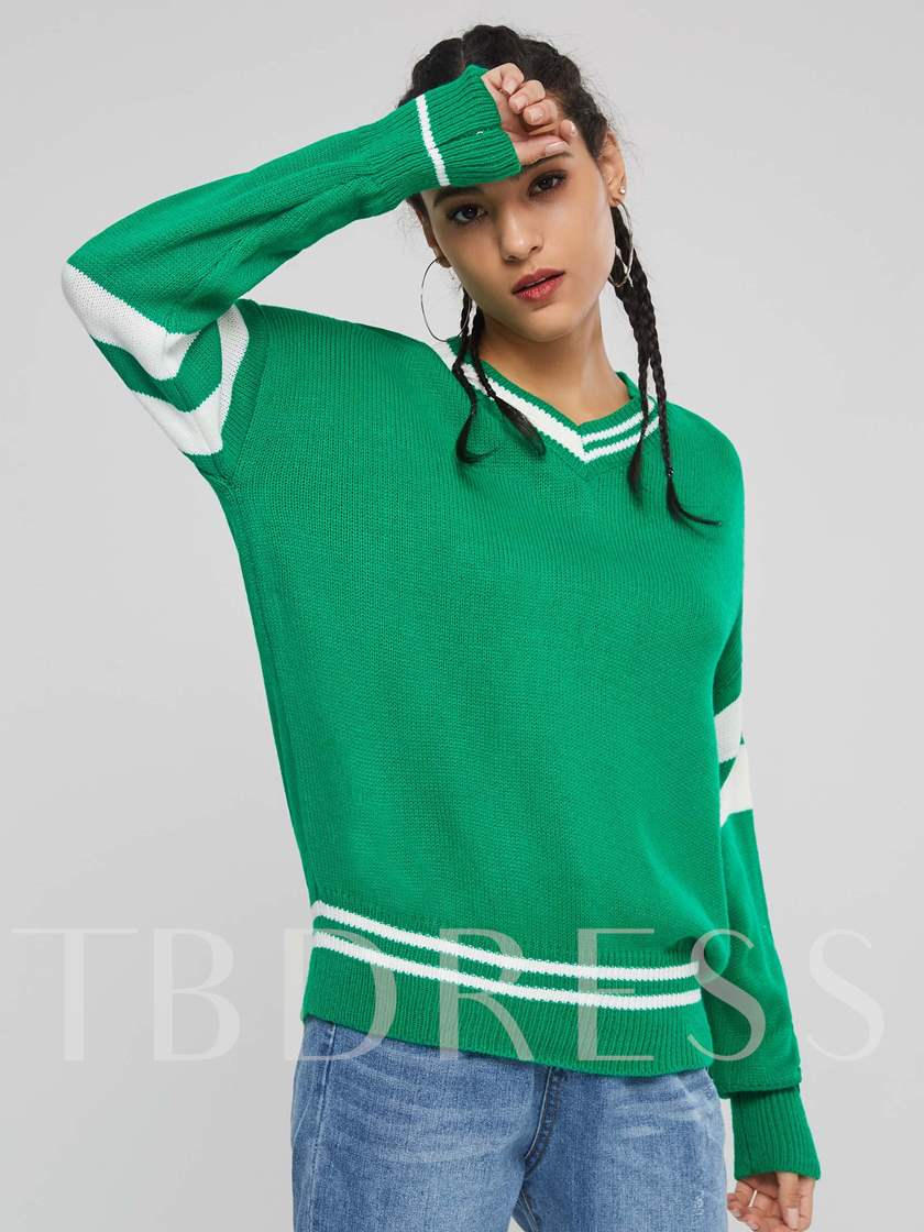 Loose V-Neck Color Block Stripe Women's Sweater