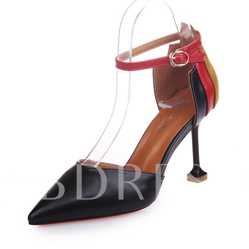 Buy Line-Style Buckle Stiletto Heel Pointed Toe Color Block Women's Pumps, Spring,Summer,Fall, 13471573 for $31.71 in TBDress store