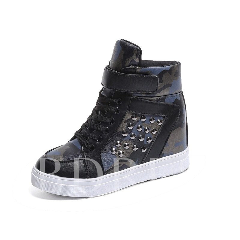 Round Toe Camouflage Velcro Cross Strap Elevated Women's Sneaker
