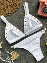 Rivet Hollow Lace Up Bikini Set