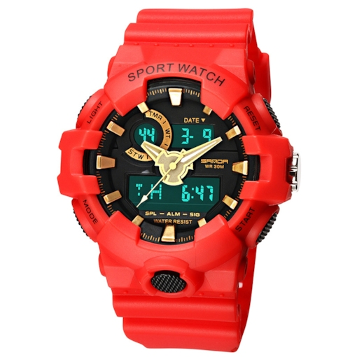Multi Color Analog-Digital Display Luminous Student Watch