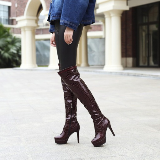 Round Toe PU Stiletto Heel Sexy Platform Women's Knee High Boots