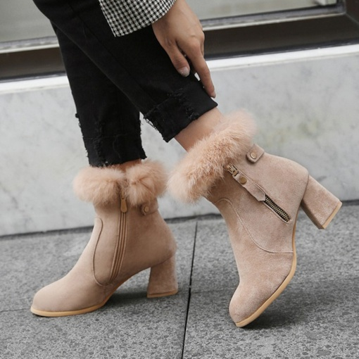 Suede Chunky Heel Purfle Casual Women's Ankle Boots