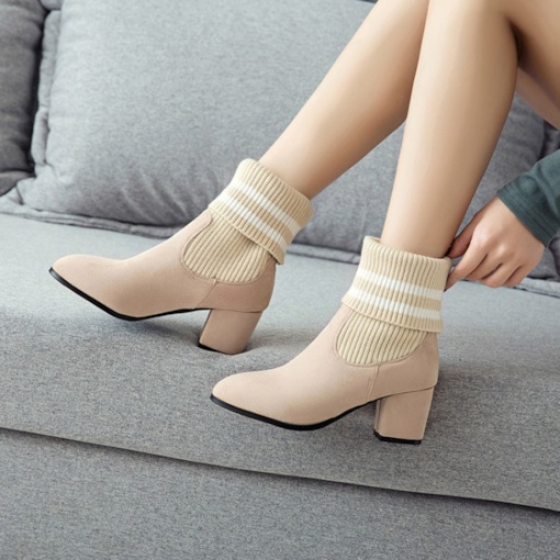 Slip-On Round Toe Patchwork Chunky Heel Casual Ankle Boots