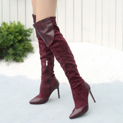 Pointed Toe PU Side Zipper Stiletto Heel Knee High Boots