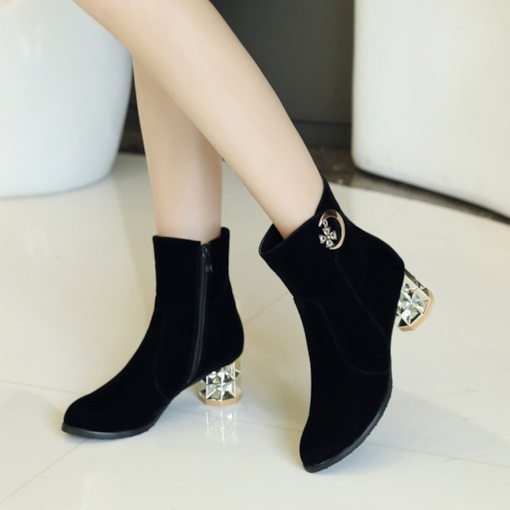 Suede Round Toe Chunky Heel Rhinestone Exquisite Women's Ankle Boots