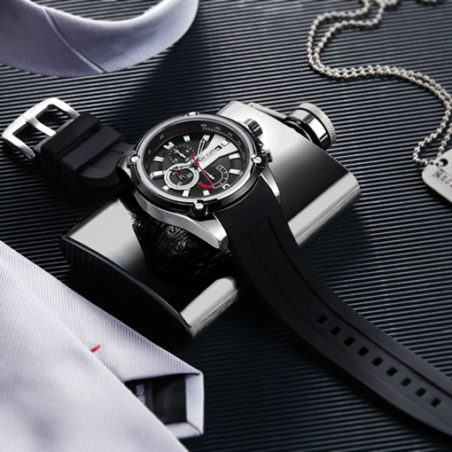 Three Eye Table Silicone Band Business Men's Watch