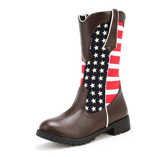 PU Round Toe Stripe Stars Patchwork Slip-On Vintage Mid Calf Boots