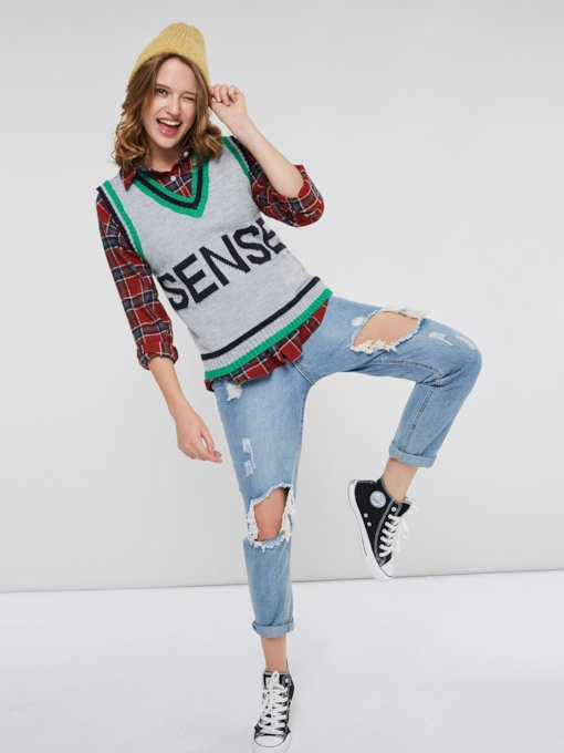 Color Block V-Neck Sleeveless Letter Print Women's Sweater