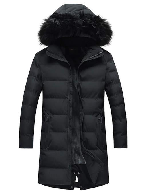 Thick Plain Stand Collar Hooded Mid-Length Men's Down Jacket