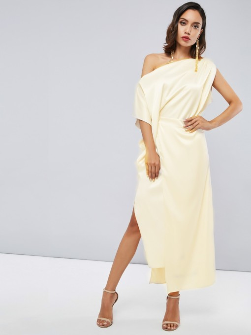 Nude Asymmetric Split Women's Maxi Dress