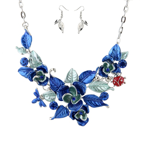 Floral Shape Oil Drip Earrings Necklace Jewelry Sets