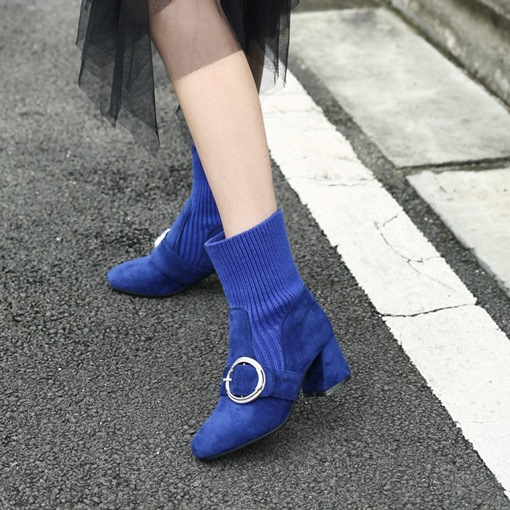 Buckle Slip-On Chunky Heel Round Toe Chic Ankle Boots