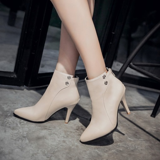 Pointed Toe PU Stiletto Heel Back Zip Casual Women's Ankle Boots