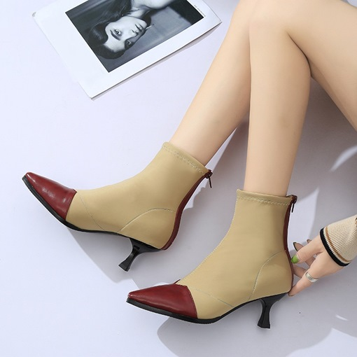 Spandex Pointed Toe Back Zip Patchwork Color Block Ankle Boots
