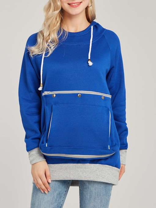 Pocket Patchwork Mid-Length Women's Hoodie