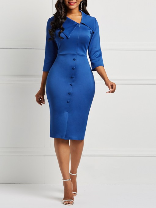 Button Three-Quarter Sleeve Plain Women's Bodycon Dress