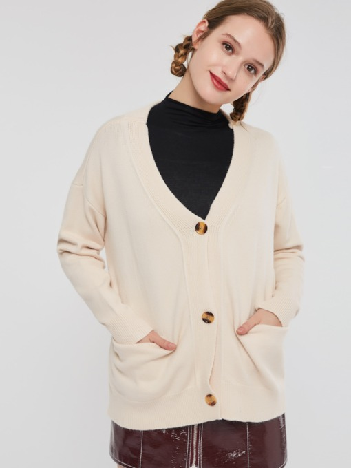 Loose V-Neck Plain Single-Breasted Women's Cardigan