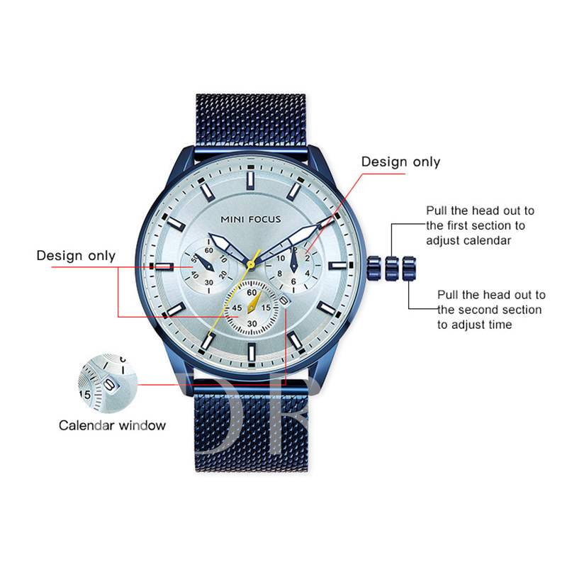 Round Luminous Stainless Steel Quartz Men's Watches
