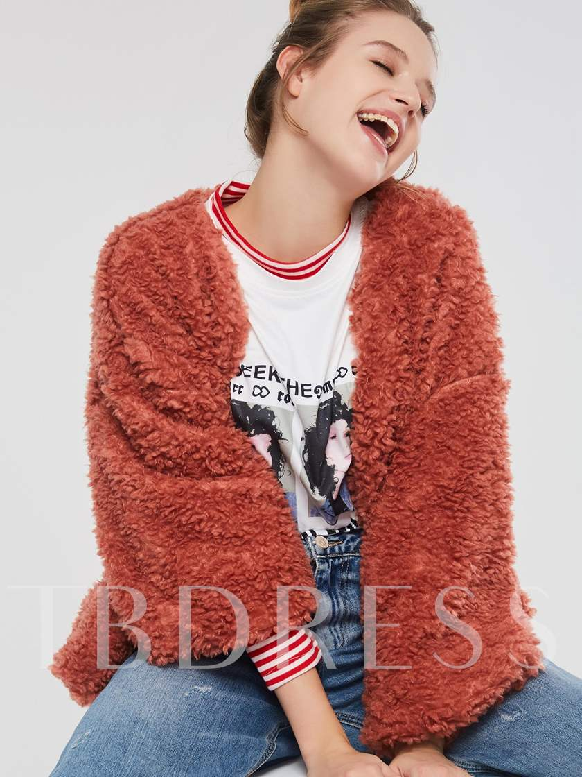 Brick Red Patchwork Long Sleeve Jacket