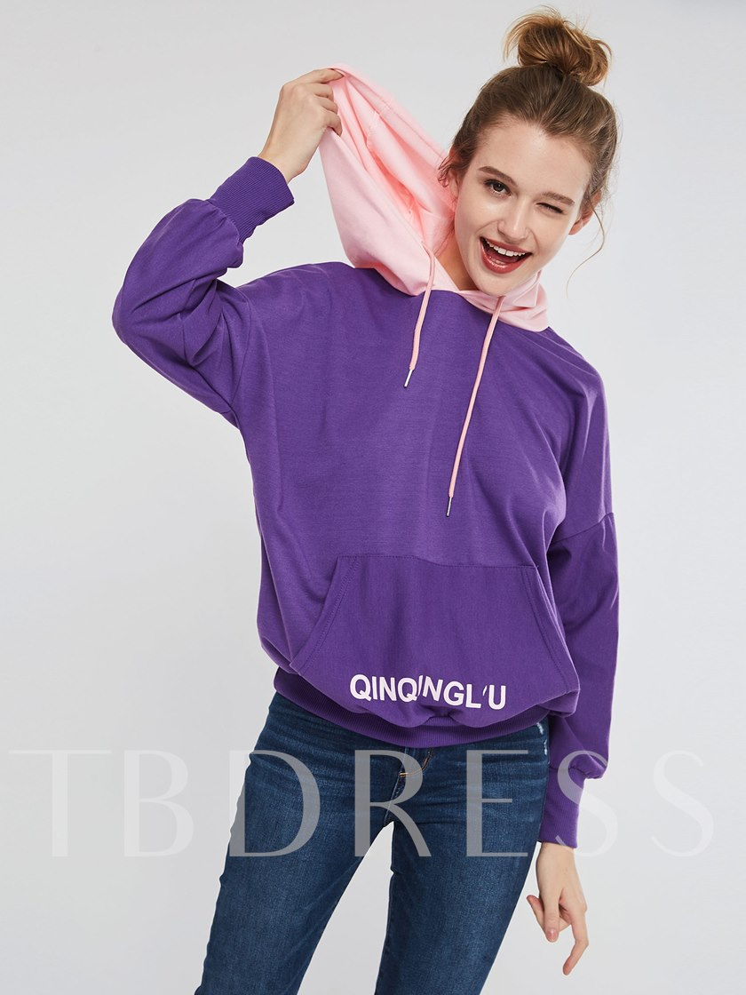 Mid-Length Letter Print Pullover Hoodie