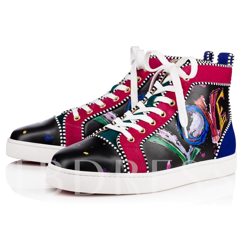 Lace-Up Letter Prints Round Toe High Top Skateboard Shoes for Men